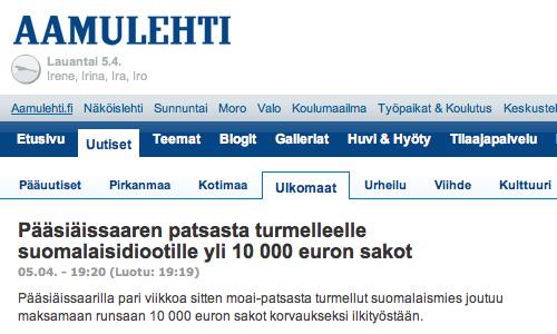 Aamulehti: Pääsiäissaaren patsasta turmelleelle suomalaisidiootille yli 10 000 euron sakot (5.4.2008)